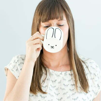 Unique Coffee Cups - Cute white bunny ceramic mug online - Sugar and Vice - Cape Town