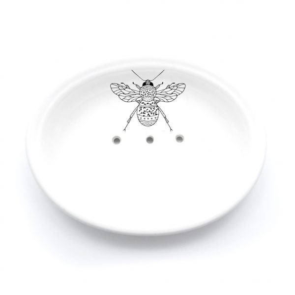 Buy Ceramic Soap Dishes Online - Bee Illustration - Cape Town - Sugar and Vice
