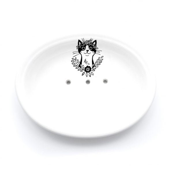 Buy Ceramic Soap Dishes Online - Bohemian Cat Illustration - Cape Town - Sugar and Vice