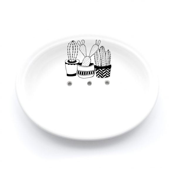 Buy Ceramic Soap Dishes Online - Cactus Illustration - Cape Town - Sugar and Vice