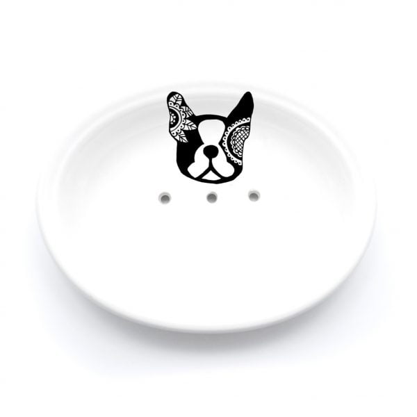 Buy Ceramic Soap Dishes Online - French Bulldog Illustration - Cape Town - Sugar and Vice