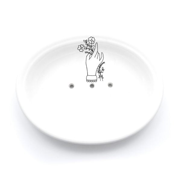Buy Ceramic Soap Dishes Online - Hand and Flower Illustration - Cape Town - Sugar and Vice