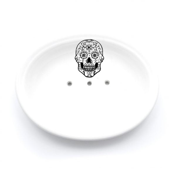 Buy Ceramic Soap Dishes Online - Sugar Skull Illustration - Cape Town - Sugar and Vice