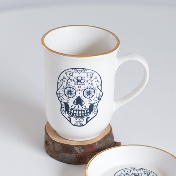 Gold & navy skull handmade Ceramic Coffee Cup - Sugar and Vice - Cape Town