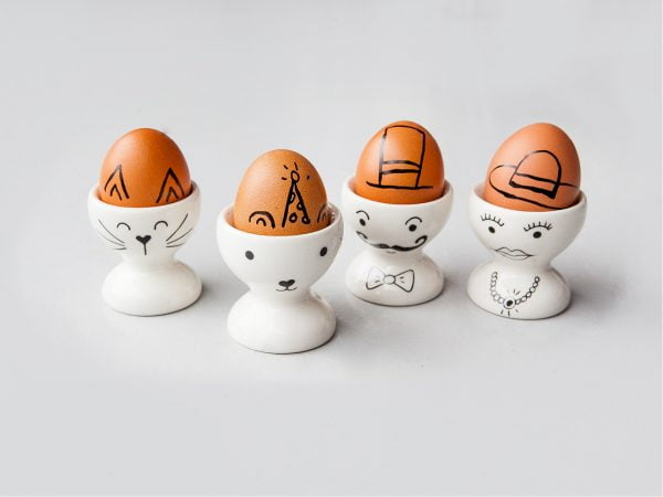 Novelty egg cups - White Family Egg Cup Set online - Sugar and Vice - Cape Town