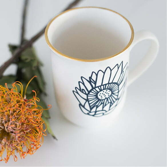 Ceramic Coffee Cup - Gold & navy ceramic protea handmade mugs - Sugar and Vice - Cape Town