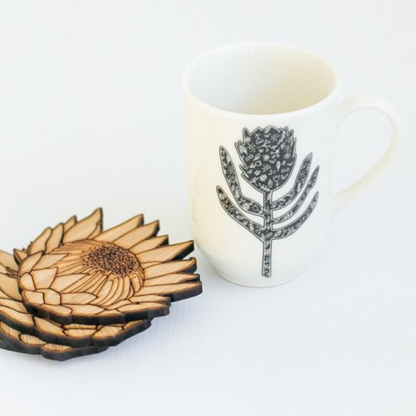 Best Ceramic Coffee Mugs -Handcrafted Silhouette Protea mug online - Sugar and Vice - Cape Town