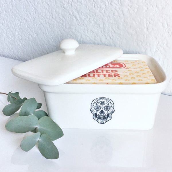 Buy Butter Dishes Online - Handmade skull ceramic butter dish online - Sugar and Vice - Cape Town