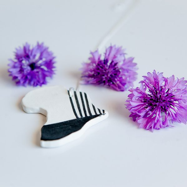 Porcelain Jewellery - Sterling silver handmade Porcelain Africa necklace online - Sugar and Vice