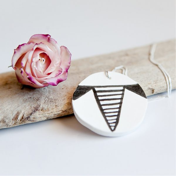 Porcelain Jewellery - Sterling silver handmade Porcelain Circle necklace online - Sugar and Vice