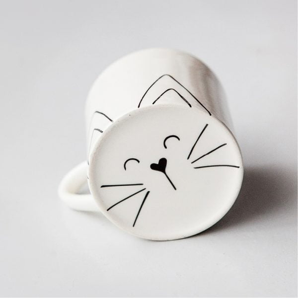Pretty Coffee Mugs - Cute white Cat ceramic mug online - Sugar and Vice - Cape Town