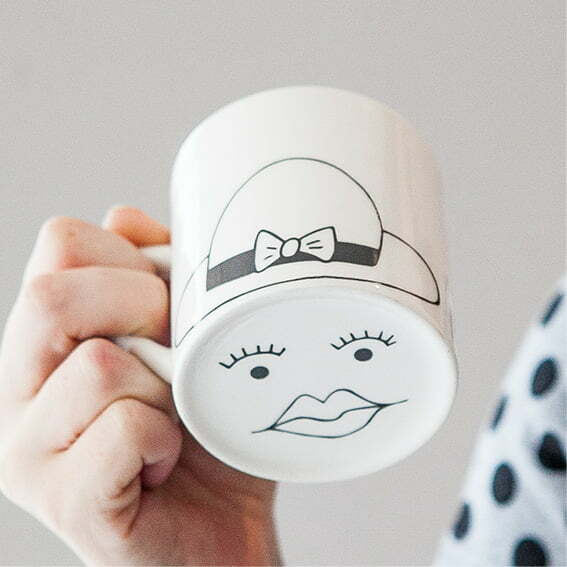 Creative Coffee Mugs - Cute white Madam face ceramic mug online - Sugar and Vice - Cape Town