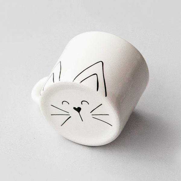 Coffee Cups - Cute white Cat ceramic mug online - Sugar and Vice - Cape Town