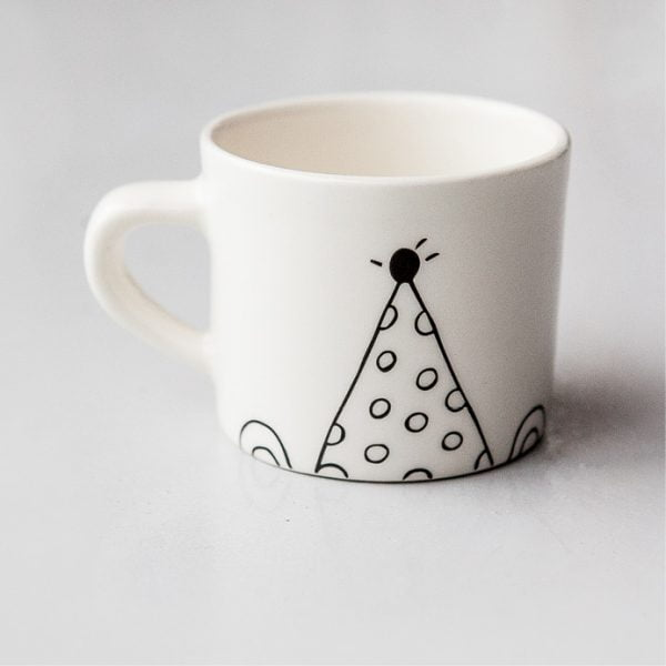 Handmade Coffee Mugs - Cute white party bear ceramic mug online - Sugar and Vice - Cape Town