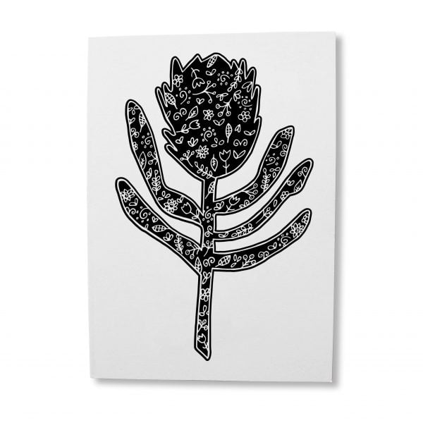 Greeting Cards South Africa - Silhouette Protea greeting card online - Sugar and Vice - South Africa