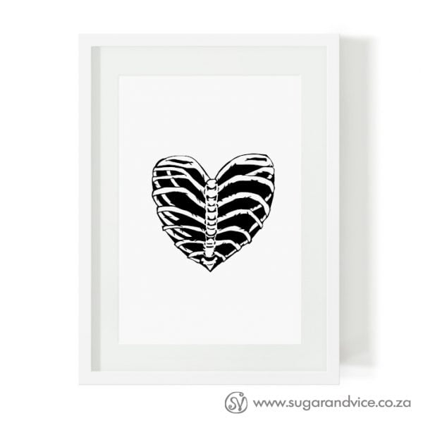 Rib cage heart limited edition art print online - Sugar and Vice - Cape Town