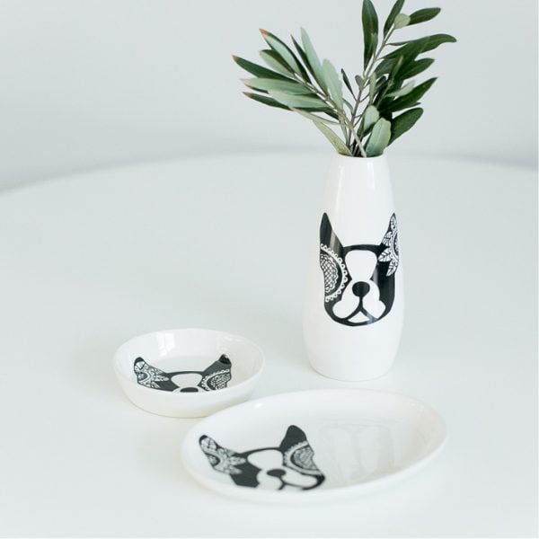 Jewellery organisers - Boston terrier jewellery plate online - Sugar and Vice - Cape Town