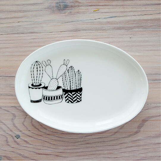Illustrated cacti jewellery organiser and plates online - Sugar and Vice