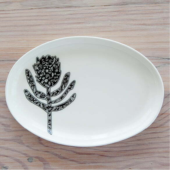 south african souvenirs online - Illustrated silhouette protea jewellery plate online - Sugar and Vice3