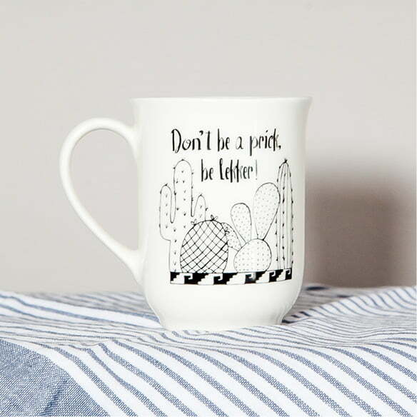 Coffee Mugs - Handcrafted illustrated cactus quote mug online - Sugar and Vice