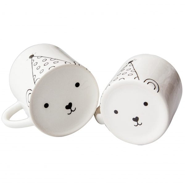 White matching mom and toddler cute bear face ceramic mugs online - Sugar and Vice3