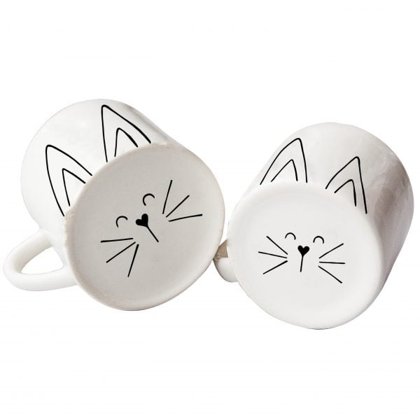 White matching mom and toddler cute cat face ceramic mugs online - Sugar and Vice3