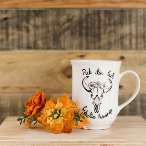 Beautiful Coffee Mugs - Pak die bul Afrikaans quote cup online - Sugar and Vice - Cape Town