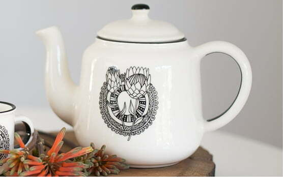 Gifts Online South Africa - featured in Baba & Kleuter Magazine - Protea Teapot - Sugar & Vice