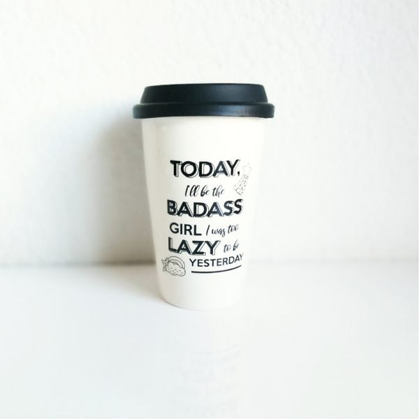 Travel Coffee Mugs Online - Badass Girl - Sugar and Vce - Cape Town