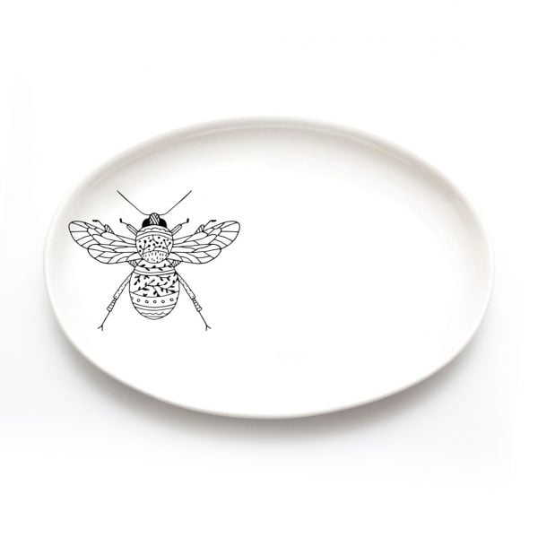 Buy Ceramic Plates Online - Bee Illustration - Cape Town - Sugar and Vice