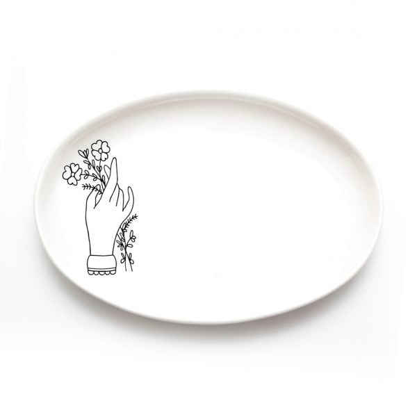 Buy Ceramic Plates Online - Hand and Flower Illustration - Cape Town - Sugar and Vice