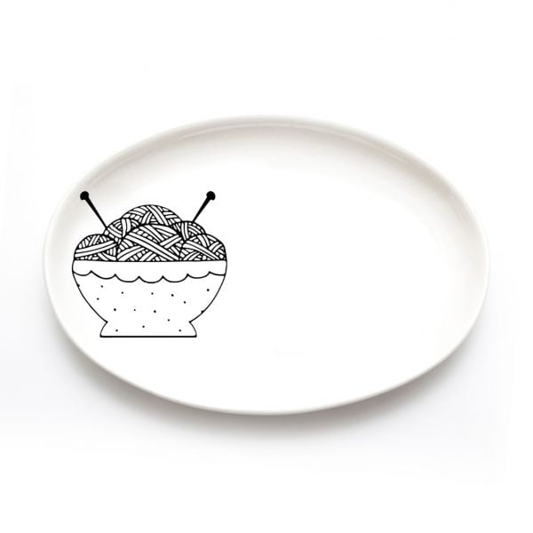 Buy Ceramic Plates Online - Tea Knitting Wool Illustration - Cape Town - Sugar and Vice