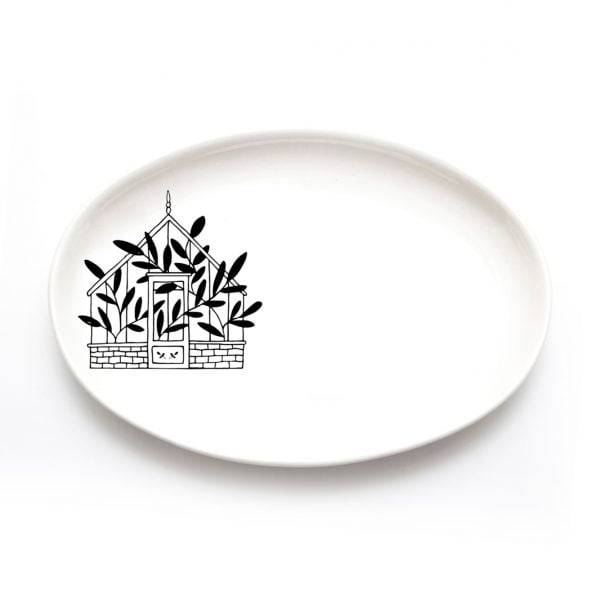 Buy Handmade Ceramic Plates Online - Green House Illustration - Cape Town - Sugar and Vice