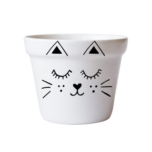 Illustrated Cute Scandi Cat Planter Online - Sugar and Vice