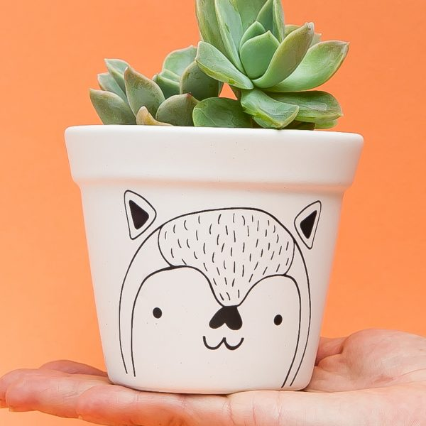 Illustrated Cute Scandi Fox Planter Online - Sugar and Vice2