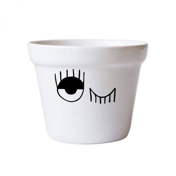 Illustrated Scandi Winking Eye Planter Online - Sugar and Vice
