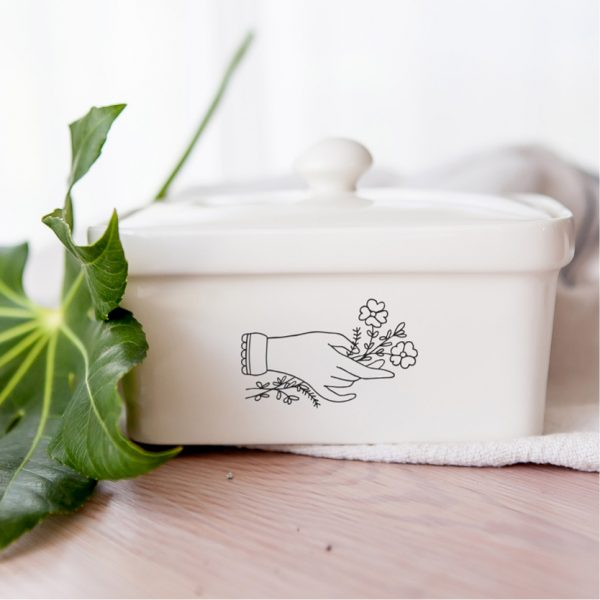 Handmade illustrated Flower Hand ceramic butter dish online - Cape Town - Sugar and Vice