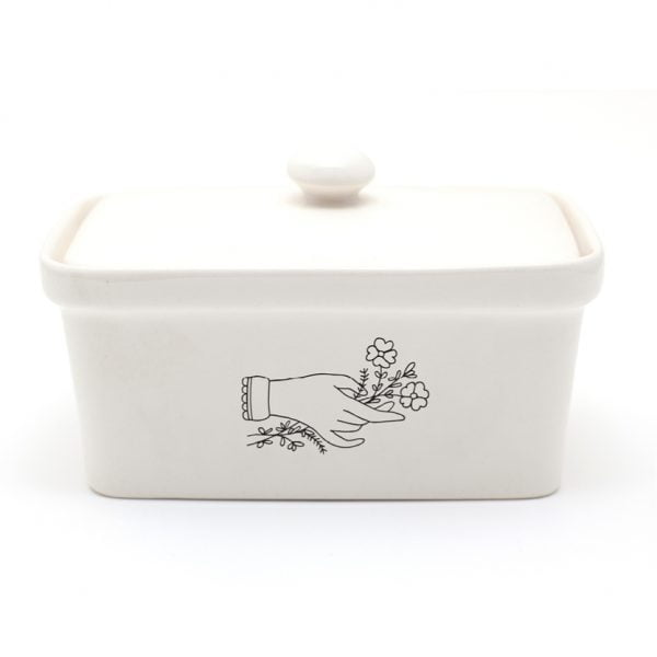 Handmade illustrated Flower Hand ceramic butter dish online - Cape Town - Sugar and Vice1