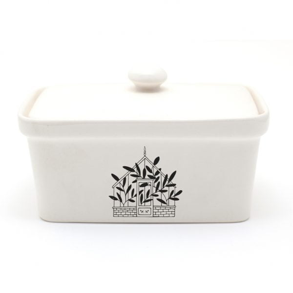 Handmade illustrated Green House ceramic butter dish online - Cape Town - Sugar and Vice3