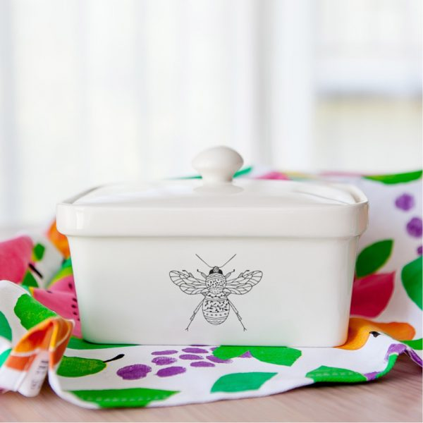 Handmade illustrated Insect ceramic butter dish online - Cape Town - Sugar and Vice