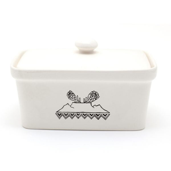Illustrated table mountain protea black and white ceramic butter dish online - Sugar and Vice