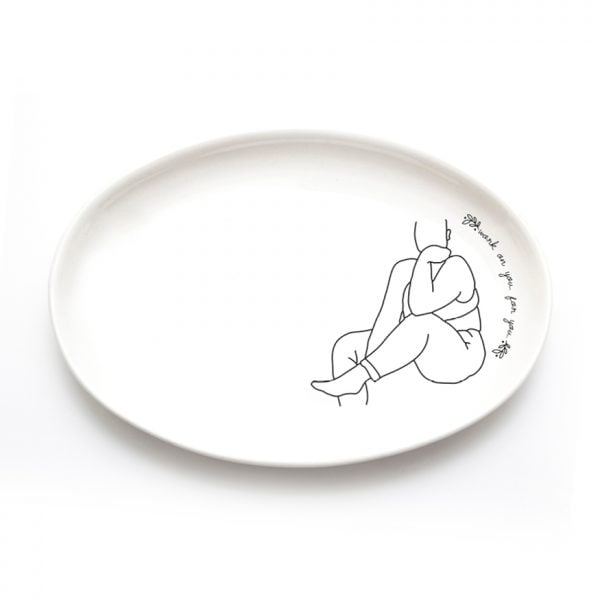 Buy Ceramic Plates Online - Minimalistic Woman Line Drawing Illustration Anna - Cape Town - Sugar and Vice