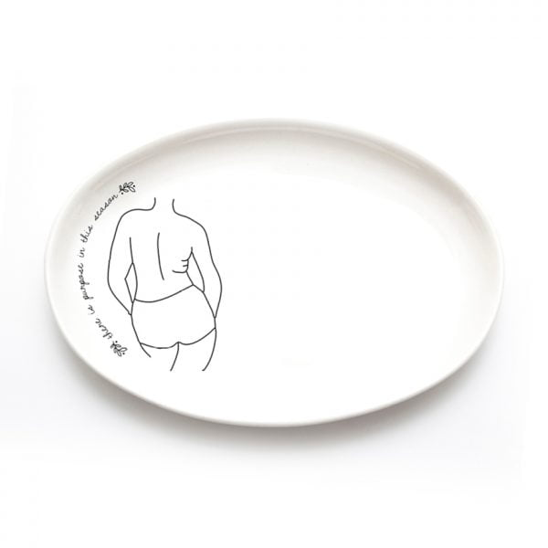 Buy Ceramic Plates Online - Minimalistic Woman Line Drawing Illustration Nandi - Cape Town - Sugar and Vice