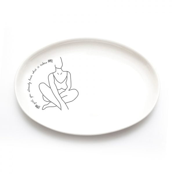 Buy Ceramic Plates Online - Minimalistic Woman Line Drawing Illustration Noluthando - Cape Town - Sugar and Vice