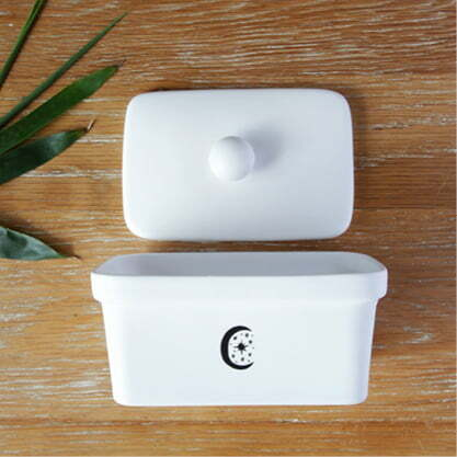 Handmade illustrated Moon ceramic butter dish online - Cape Town - Sugar and Vice