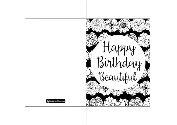 Happy Birthday Beautiful greeting card digital download - Sugar and Vice