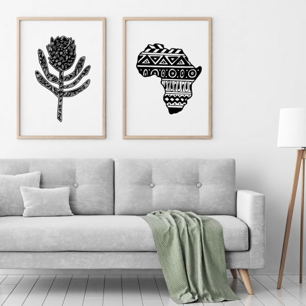 Illustrated Aztec Africa Continent and Protea Digital Download Art Print Online - Sugar and Vice - 2000 x 2000px