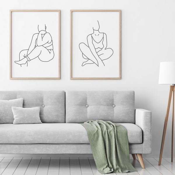 Illustrated Lechelle Minimalist Woman Figure Digital Download Art Print Online - Sugar and Vice - 2000 x 2000px - 7