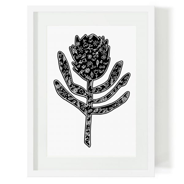 Illustrated Silhouette Protea Digital Download Art Print Online - Sugar and Vice - 2000 x 2000px