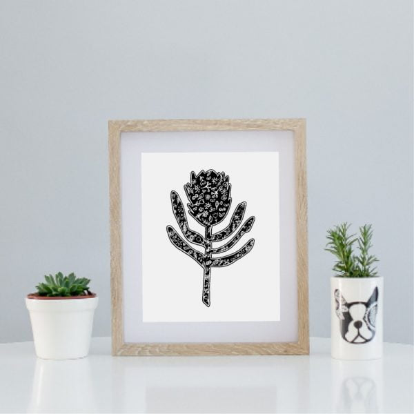 Illustrated protea silhoette art print - Sugar and Vice